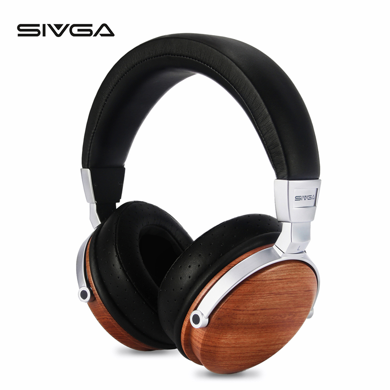 SIVGA SV002 Over ear Portable Wooden Dynamic Headphones With microphone HIFI DJ Monitor Studio music Earpiece headset earphones-in Headphone/Headset from Consumer Electronics    1