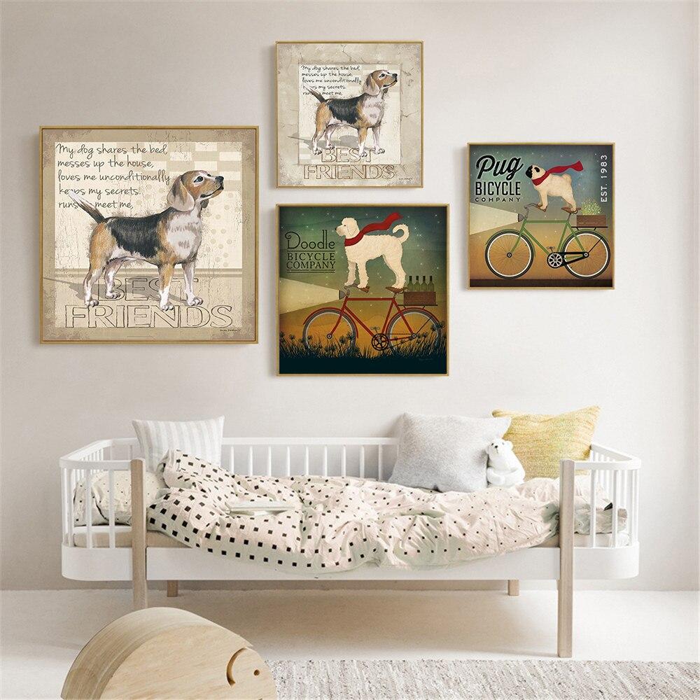 Us 4 39 12 Off Pet Mop Funny Doodel Fahrrad Beste Freunde Hund Malerei Wand Kunst Retro Leinwand Bilder Fur Wohnzimmer Dekoration Kinderzimmer In