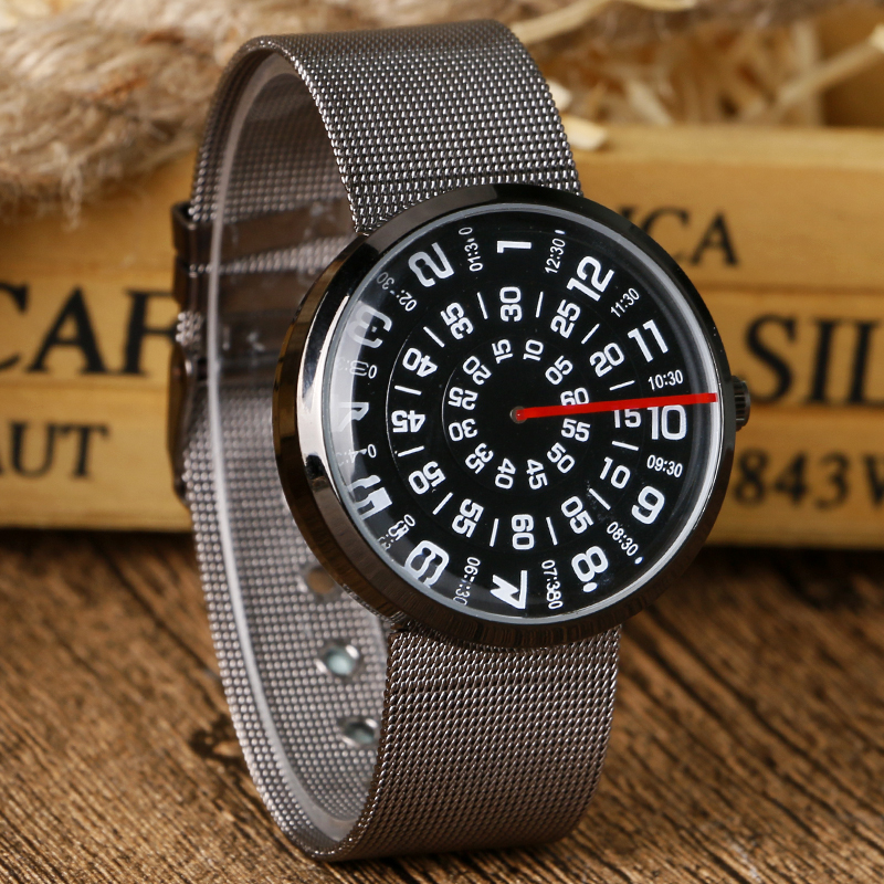 New Fashion Stainless Steel Mesh Band Strap Bracelet Turntable Wrist Watches Gift