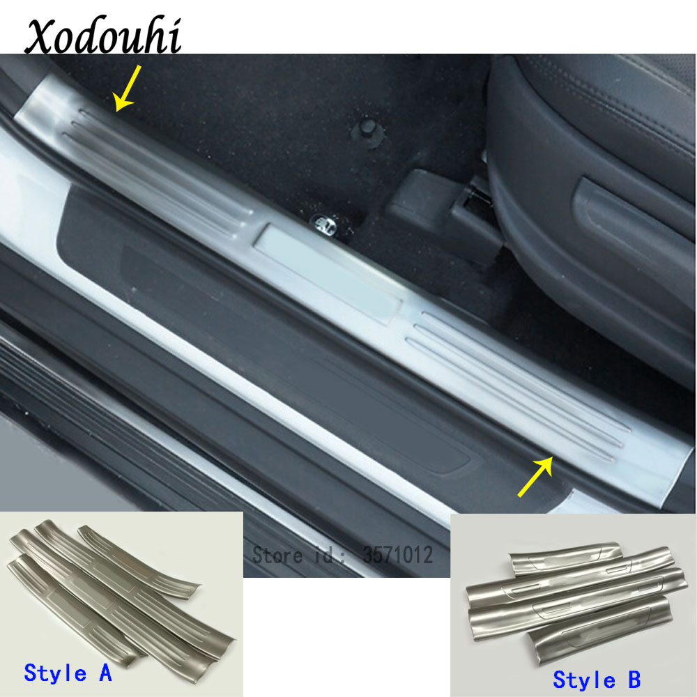 For Hyundai Tucson 2015 2016 2017 2018 car inner inside threshold bumper trim Stainless Steel Scuff Sill trunk plate pedal 4pcs image