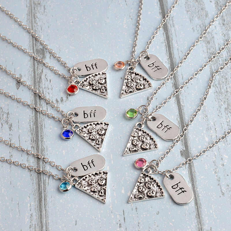 QIHE JEWELRY 6 pcs / set Pizza Kalung Dengan BFF Pesona Berlian - Perhiasan fashion - Foto 3