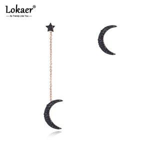 Lokaer, модные серьги из титана, нержавеющая сталь, звезда, луна, розовое золото, ручная работа, черная глина, стразы, ювелирные изделия для женщ...