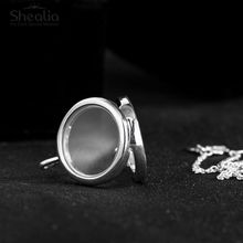 SHEALIA 925 Sterling Silver Large Floating Locket Glass Pendant Necklace Fit Petite Floating Charms Bead DIY Jewelry Accessories