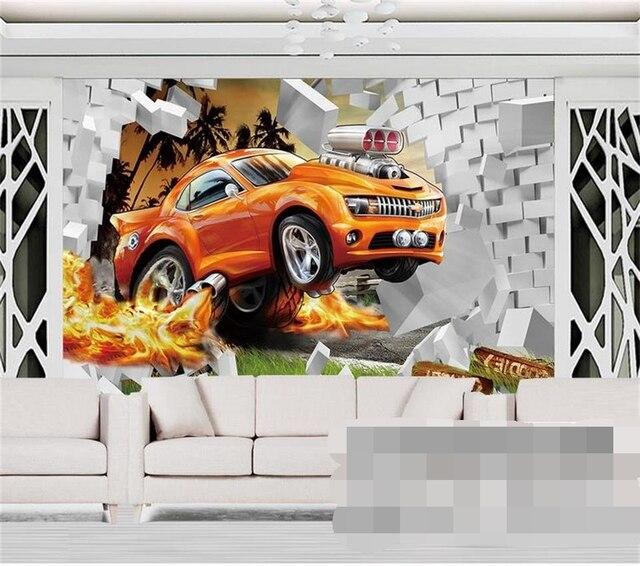 3d photo fond d 39 cran personnalis murale chambre d 39 enfants de bande dessin e mur cass voiture. Black Bedroom Furniture Sets. Home Design Ideas