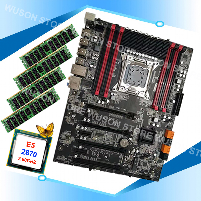 Discount motherboard bundle brand Runing X79 motherboard with 8 RAM slots CPU Intel <font><b>Xeon</b></font> <font><b>E5</b></font> <font><b>2670</b></font> <font><b>C2</b></font> 2.6GHz RAM 64G(4*16G) RECC image