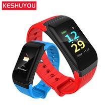 keyou F601 band gelang pintar tahan air kebugaran tracker warna lcd bluetooth smartband tekanan darah untuk IOS Android Phone