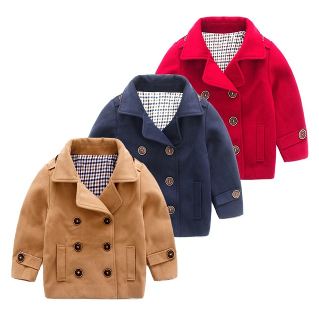 LittleSpring Unisex Autumn Trendy Double Breasted Trench Children Kids Outerwear Jacket 2017 New Winter Wool Coat for Boys Girls