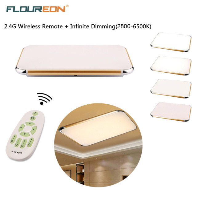 Remote Control Living Room Bedroom Modern LED Ceiling Lights 48W Luminarias Para Sala Dimming Led Ceiling Lamp Gold & Silver