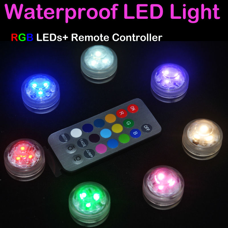 12Pcs*MINI RGB LED Submersible Lights Waterproof 3LEDs Bulb CR 2032 Button Cell 20KEYS Remote Control  For Wedding Party Decor