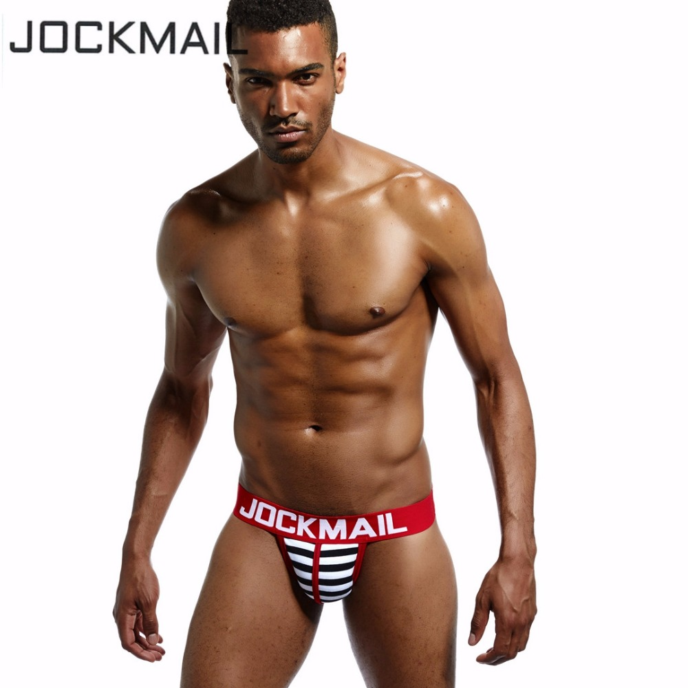 JOCKMAIL Brand Men Underwear Jockstraps Sexy Low Rise Cotton Thongs G Strings Gay Underwear Penis Pouch Jock Straps Brief Bikini