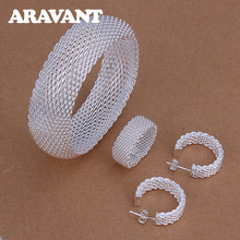 New Fashion 925 Silver Jewelry Sets Round Weaved Web Bangles Rings Stud Earring