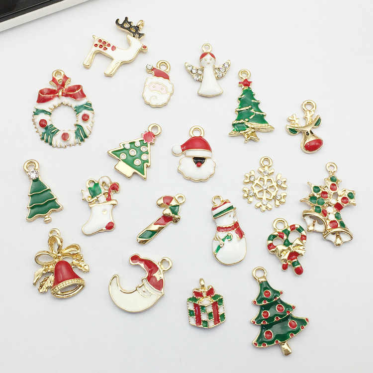 eTya 19pcs Christmas Metal Alloy Pendant Drop Ornaments  New Year Charm Decor Set Xmas Drip Hanging Christmas Decoration Navidad