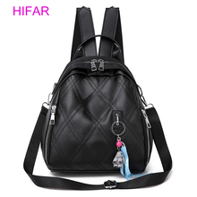 HIFAR leather Women Backpack Fashion Female Small Bagpack Schoolbag for Teenager Girls Multifunction 2019 Sac A Dos