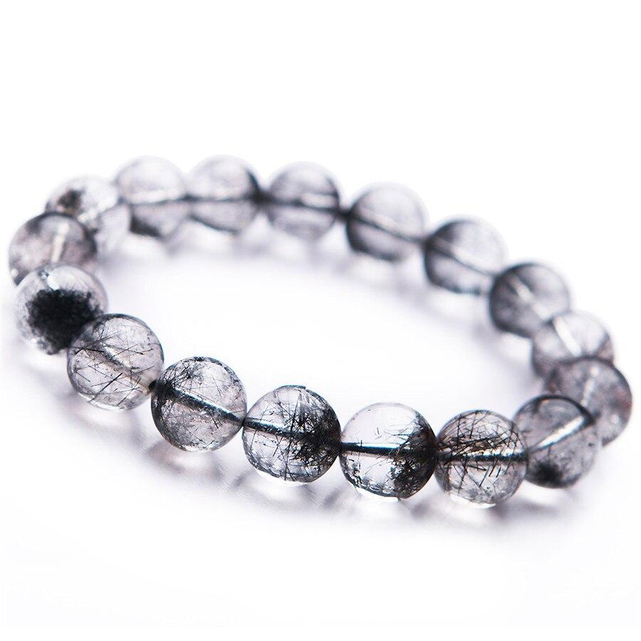 2018 Fashion Newly Natural Black Rutilated Quartz Round Crystal Bead Bracelet Trendy Men Women Crystal Round Beads Bracelet цены
