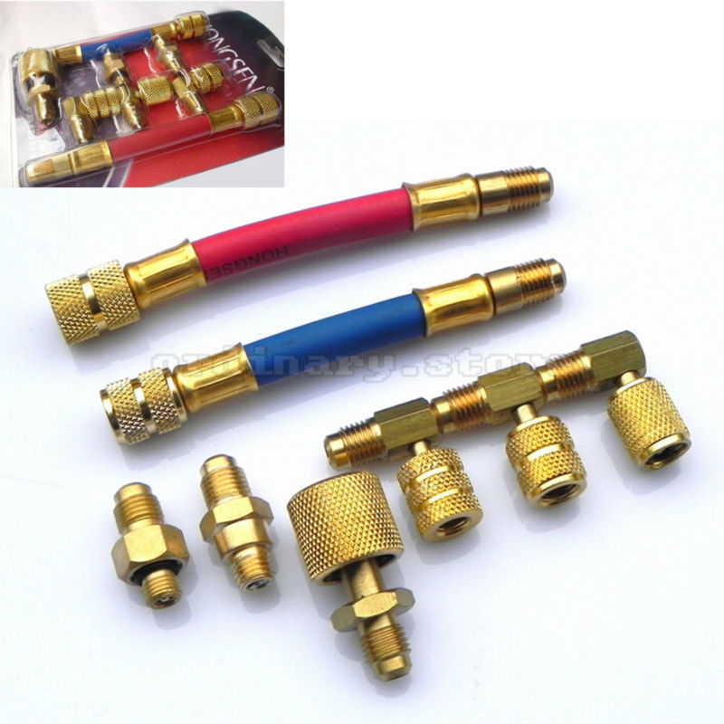 New 8 Pieces Car A/C <font><b>Air</b></font> <font><b>Conditioning</b></font> <font><b>Refrigeration</b></font> R134A R12 Connector Adapter Hoses Set Free Shipping