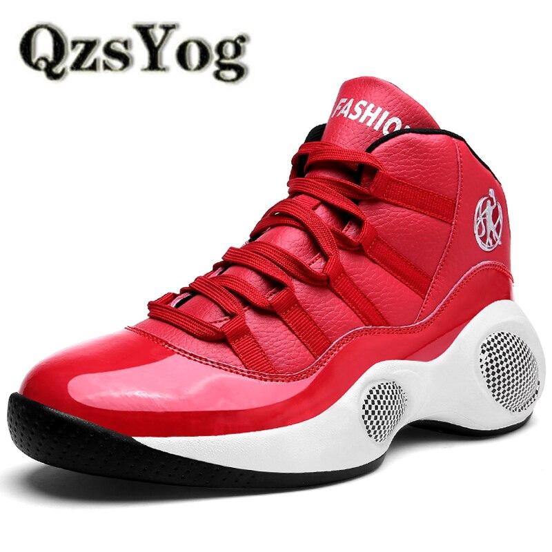 QzsYog Plus Size 39-45 Almofada Tênis Homens Tênis de Basquete Sapatos de Alta Top Sport Atlético Treinamento Ao Ar Livre Ankle Boots Baloncesto vermelho
