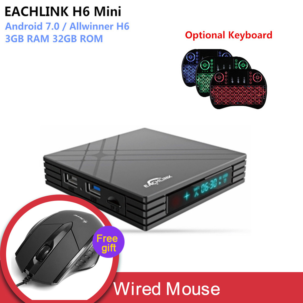 EACHLINK H6 Mini Android 7.0 Smart TV Box Allwinner H6 3 GB RAM 32 GB ROM 2,4G WiFi 100 Mbps USB3.0 BT4.1 6 K H.265 Set Top Box