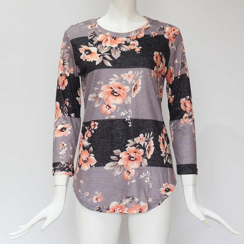 Женские блузки 2019 для отдыха, Летние повседневные блузки с цветочным принтом, рубашки с длинным рукавом, рубашки, туники, топы, футболки, женские блузки размера плюс
