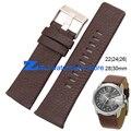 Correa de cuero genuino correa de reloj 22 | 24 | 26 | 28 | 30mm accesorios Brown reloj de Pulsera banda Suave y cómodo reloj pulsera
