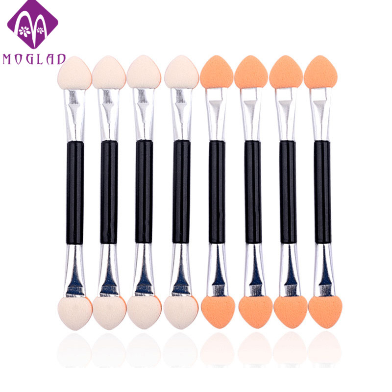 10pcs Eyeshadow Applicator Pro Sponge Double Ended Make Up Supplies Portable Eye Shadow Brushes Nail Mirror Powder Brush 5 pcs double ended nail dotting pens
