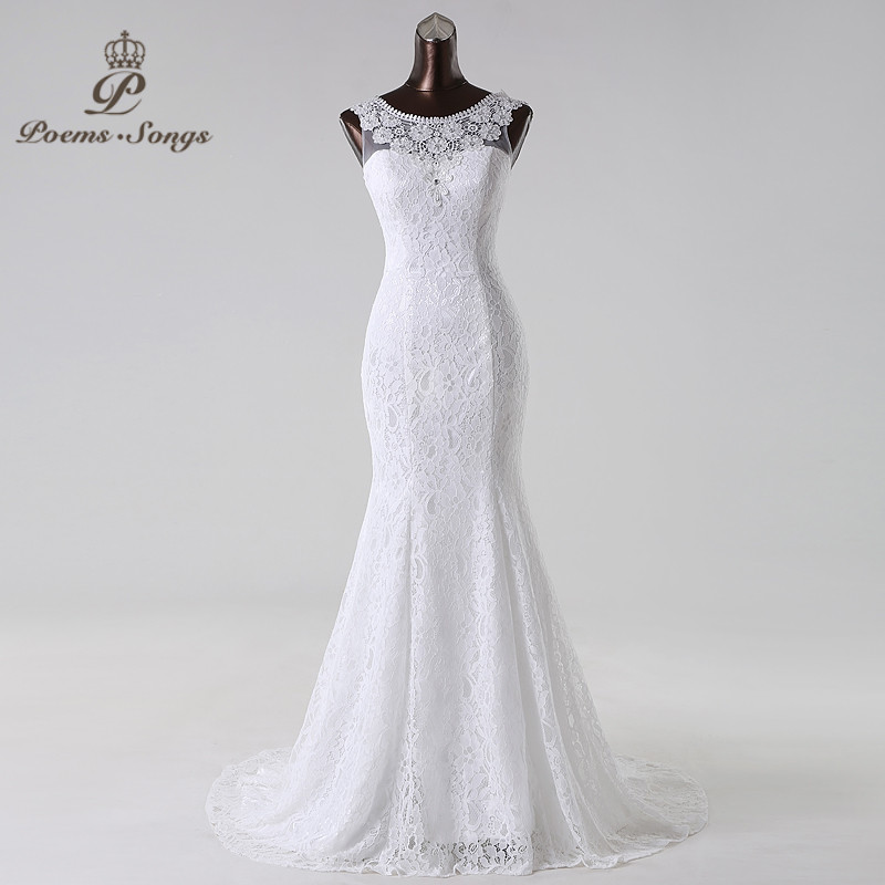 Free shipping Elegant and conservative beautiful lace mermaid Wedding Dress vestidos de noiva robe de mariage