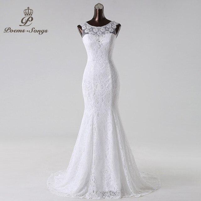 Бесплатная доставка элегантный и консервативная красивые кружева русалка свадебное платье Vestidos De Noiva свадебное платье