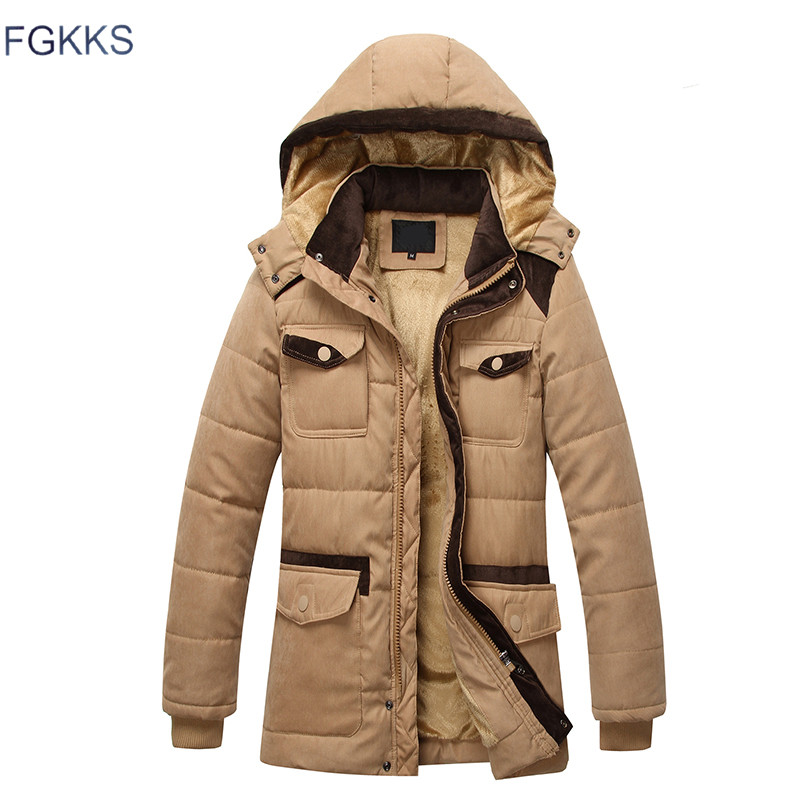 FGKKS 2017 New Casual Hooded Military Parka Men Thick Warm Medium Long Men Winter Coat ...