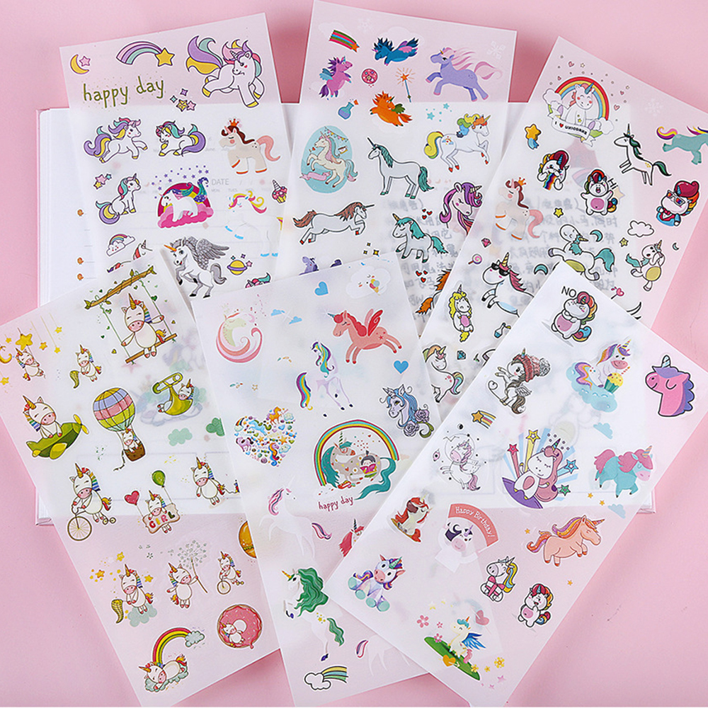 6 Sheets /Pack Kawaii Unicorn Stickers Adhesive Craft Label Phone Notebook Diary Decorative Student