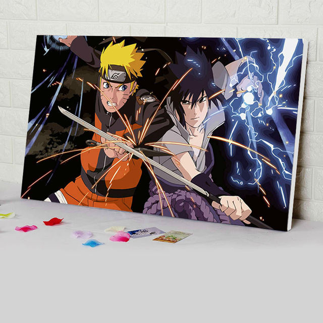 Mewarnai Lukisan Numbers Naruto Modular Jepang Gaya Kartun Poster Digital