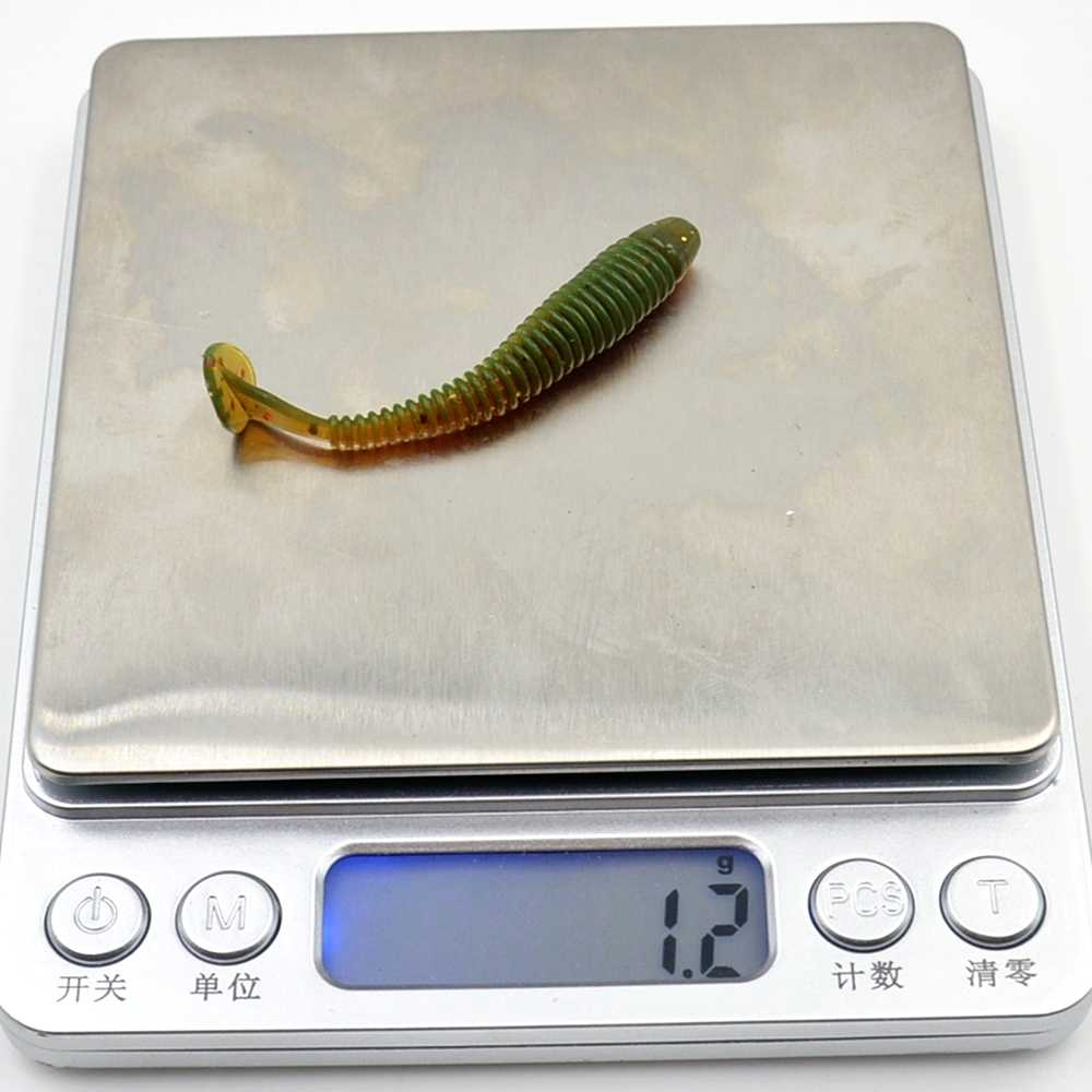 10 unids/lote 5,2 cm 0,6g T cola suave pesca señuelo Artificial gusanos suave señuelos silicona cebo carpa pesca wobblers aparejos de pesca