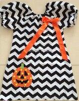 MOQ 1 unid Envío de La Venta Caliente Del Bebé Traje de Halloween, Vestido de Las Muchachas de Halloween, Campesina Chevron Con Calabaza