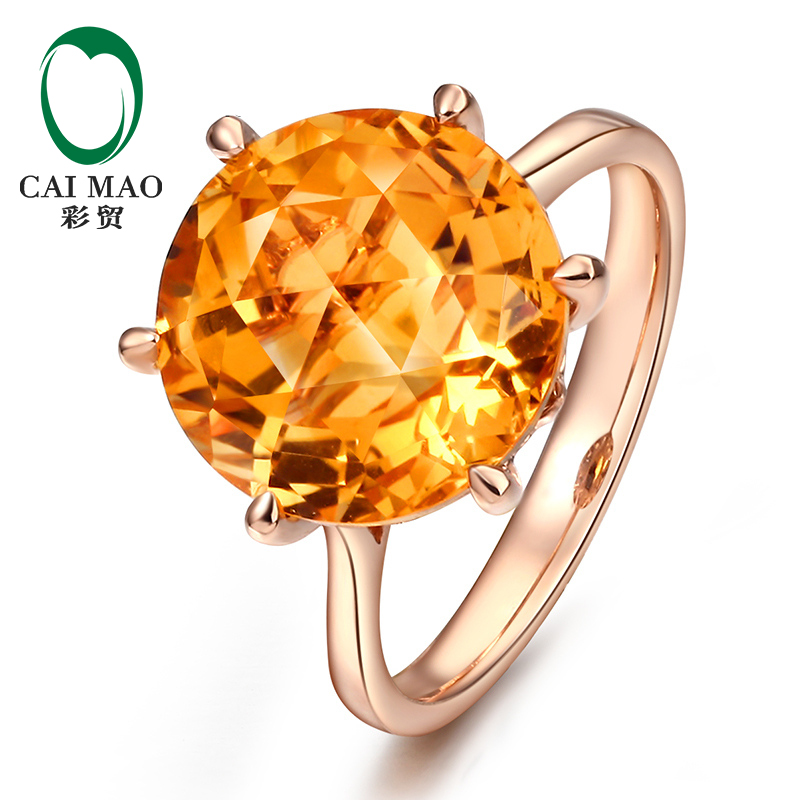 Caimao Jewelry Natural Round Diamond 14K Rose Gold Six Prong Citrine Gemstone Engagement Ring caimao 0 18ct natural round f vs diamond 14k white gold engagement wedding ring