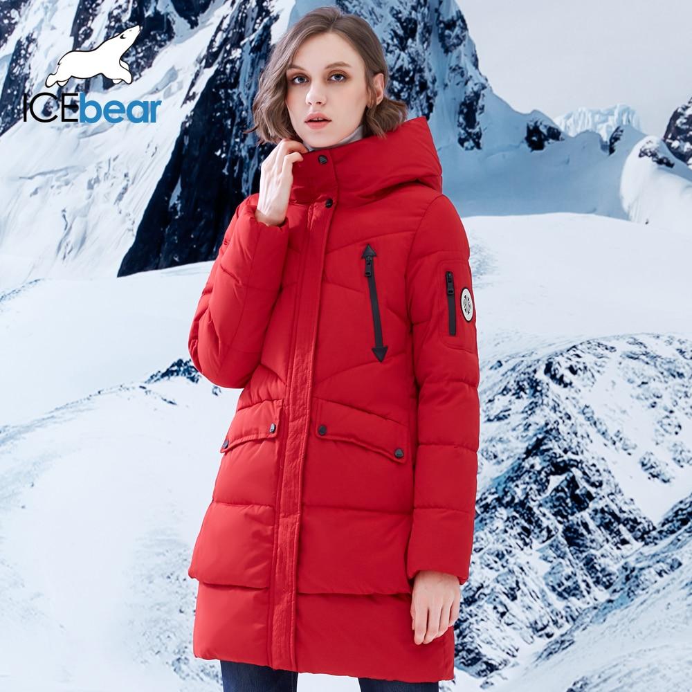 ICEbear 2018 New Women Winter Jacket Coat Slim Winter Quilted Coat Long Style Hood Slim   Parkas   Thicken Outerwear B16G6155D