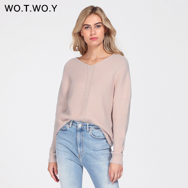 Knitted Pullover Long Sleeve V-neck Cashmere Sweater