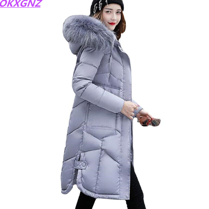 2017 Winter Coat Women Parka Long Thick Slim Womens Coats And Jackets Outerwear Hooded Fur Collar Winter Cotton Jacket OKXGNZ