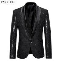 Black Sequin Suit Blazer Men 2019 Fashion Nightclub DJ Singer Performance Sequins Blazer Jacket Men Shawl Lapel Tuxedo Blazers