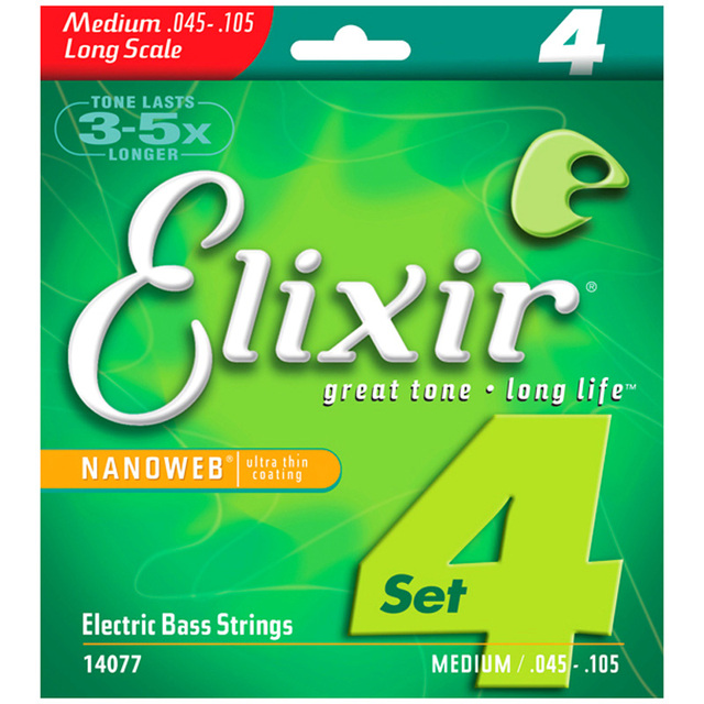 Elixir 14077 Electric Bass 4 Strings Medium (.045 .065 .085 .105)