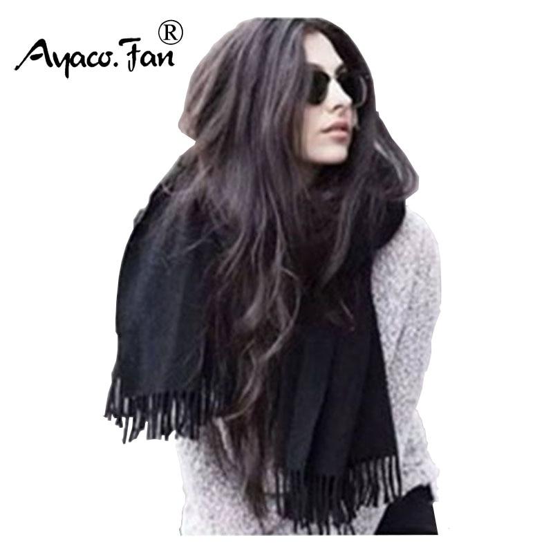 200cm*70cm Winter Oversize Scarves Simple Fashion Warm Blanket Unisex Solid Wrap Cashmere Scarf Shawl Pashmina For Women Men