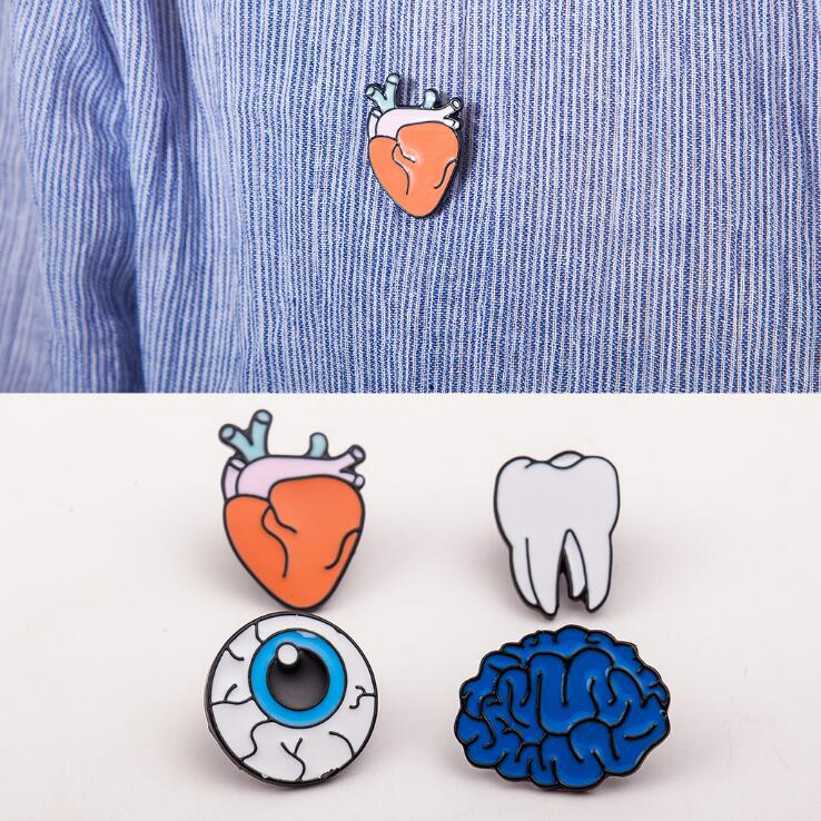 colorful body organs brooch cute cartoon broches jewelry fashion pins and brooches for women pins and brooches for men