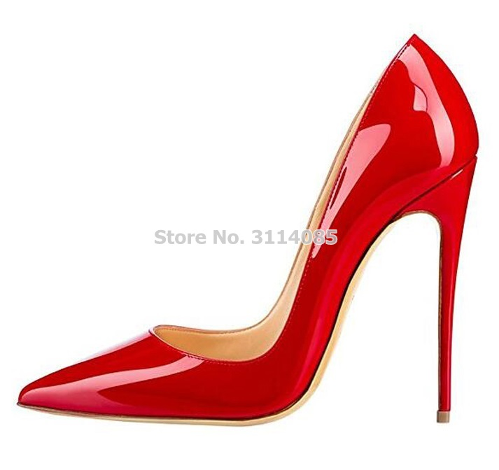 Women Big Sale Patent Leather Pointed Toe Pumps 12cm Heel Wedding Shoes Shallow Cut Nude Red Pink Banquet Dress Shoes Plus Size in Women 39 s Pumps from Shoes