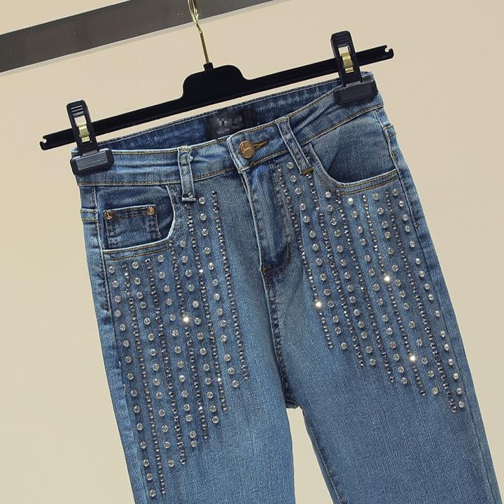 Slim Mujeres Nuevo Cintura Alta Skinny Micro Azul De Joker Estudiante Tachonado Flare Otoño Pantalones Mezclilla Jeans Rhinestone vvwUr