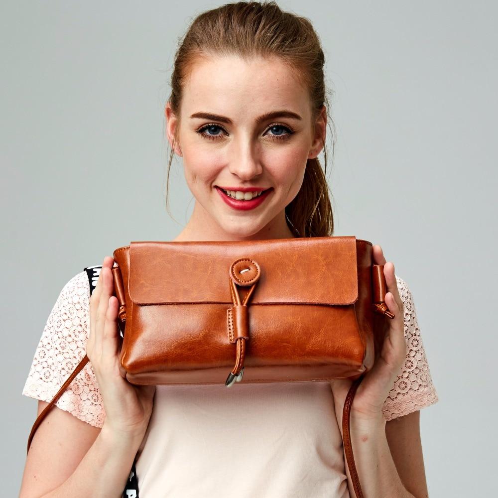 Venta caliente 2016 mujeres messgeger 100% cuero genuino flap bolsas de hombro bolso femenino de alta calidad piel real Estilo Vintage bolsos