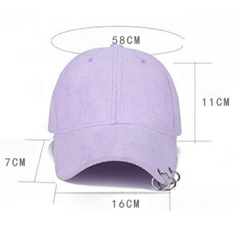 Unisex Solid Ring Safety Pin Curved Hats Baseball Cap Men Women ... 27f337d50bbe