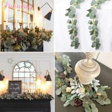 PATIMATE 2m Artificial Eucalyptus Leaves Vine Faux Silk Vines Greenery Wreath Fake Garland Wedding Decoration