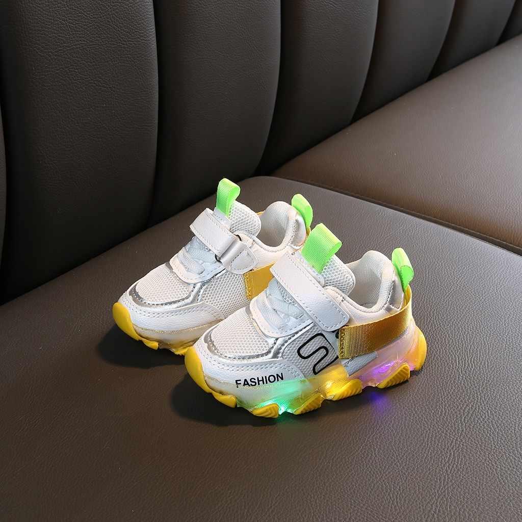 เด็กรองเท้าสบายๆ All Seasons Led Luminous Sport Run รองเท้าผ้าใบเด็กน่ารักเด็กทารกจดหมาย Hook & Loop แฟชั่นรองเท้า 2019