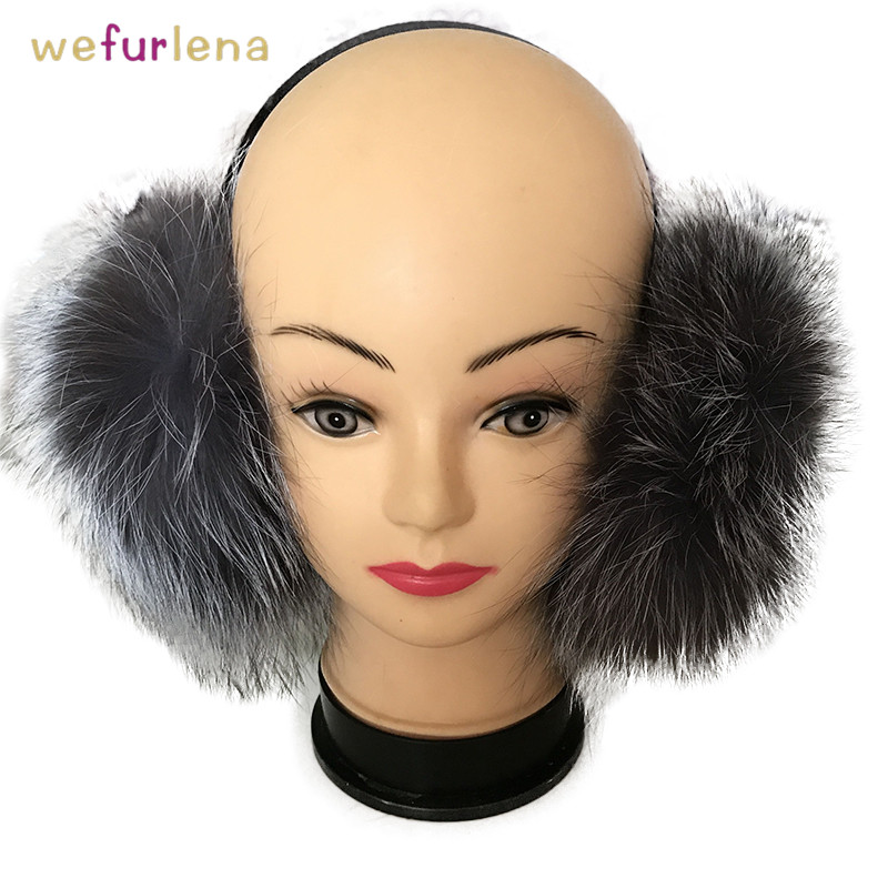 2018 Orejeras Real Geometric Genuine Earmuffs For Women Fox Fur Winter Fluffy Warm Ear For Protection Warmers Cover Ears New