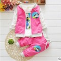 heat! Newest 2016 spring boys baby girls fits cotton jacket + T Shirt + pants children clothing suits infant newborn casual sets