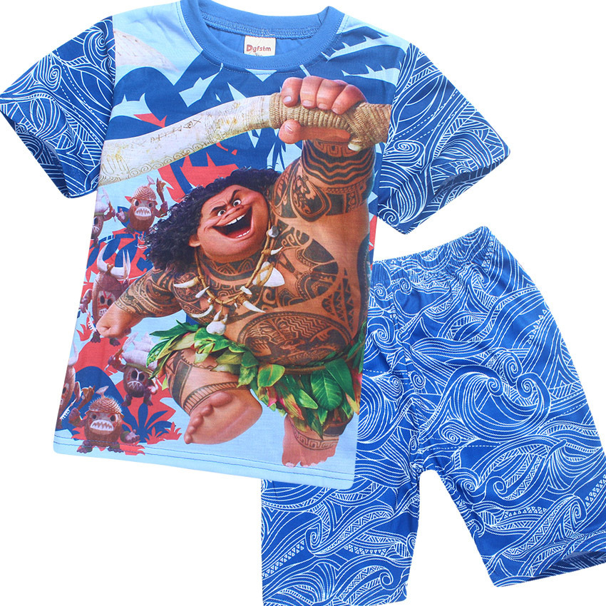 Maui Little Boys Pajamas Sets shorts t shirt + pant suits For Kids Clothing Toddler Slee ...
