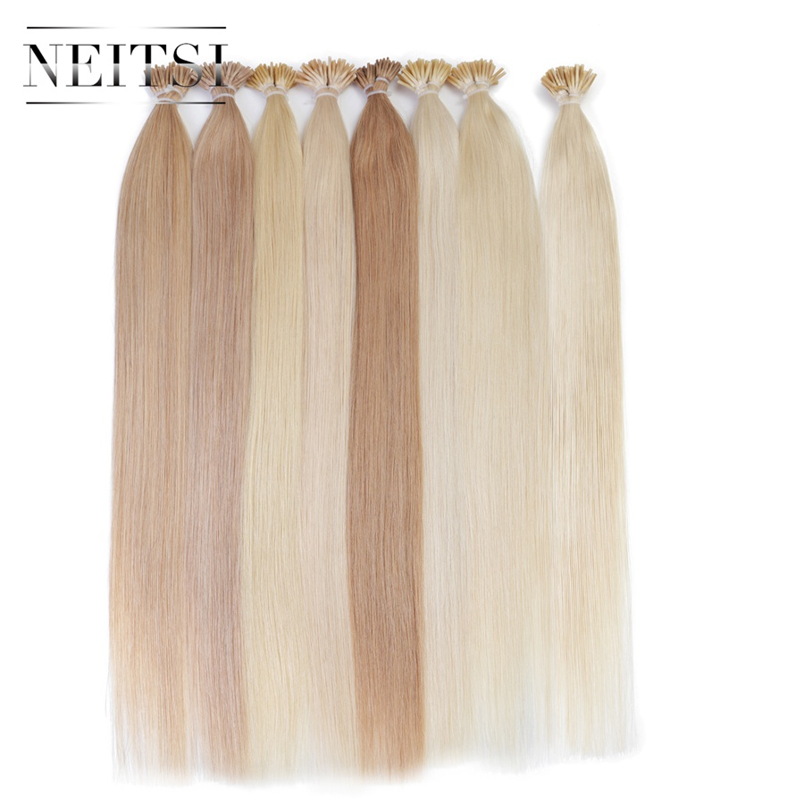 """Neitsi Brazilian Straight Fusion Hair I Tip Stick Tip Keratin Remy Hair 100% Human Hair Extensions 20"""" 1g/S 50g/Pack 25 Colors"""