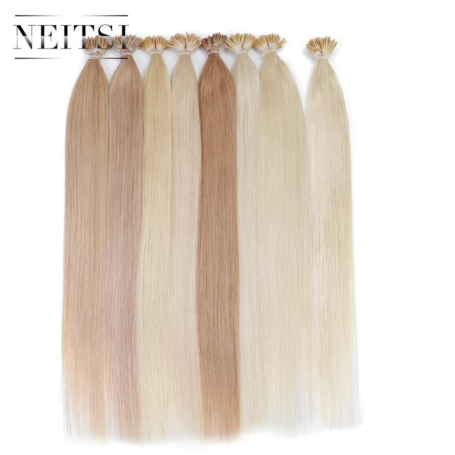 "Neitsi Straight Fusion Hair I Tip Stick Tip Keratin Machine Made Remy Pre Bonded Human Hair Extension 16"" 20"" 24"" 1g/s 25 Colors"